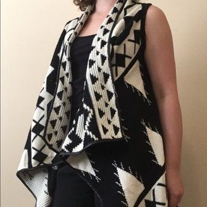 Black and Ivory Patterned Vest